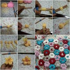 DIY Yarn Flowers ~ No crocheting or knitting required
