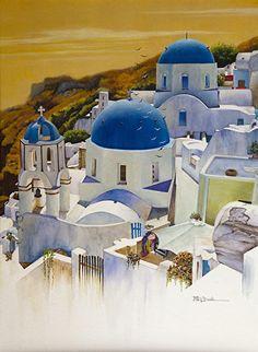 María Dove_Blue Cúpulas de Santorini islas griegas por Mary Dove Acuarela ~ 30 x 38