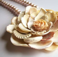 Sea Shell Pearl Necklace, Shell Flower with Pink Pearls, Shell Jewelry.