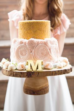 gold glitter and soft pink cake