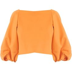 Tibi Agathe Bell Sleeve Crop Top ($495) ❤ liked on Polyvore featuring tops, crop top, shirts, sweaters, blouses, sunbaked orange, bell sleeve shirt, cropped shirts, ruffle crop top and flounce crop top