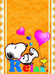 Relax - Snoopy and Woodstock Lying Around Surrounded By Heart Balloons
