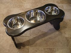 2 Qt & 1 Qt 12 Triple Pet Feeder - Made in the USA