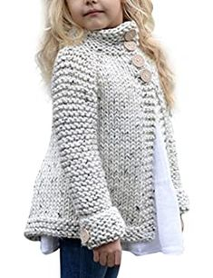 Toddler Baby Girls Autumn Winter Clothes Button Knitted Sweater Cardigan Cloak Warm Thick Coat Years beige *** You can find out more details at the link of the image. (This is an affiliate link) Baby Cardigan, Sweater Cardigan, Sleeveless Cardigan, Toddler Cardigan, Girls Poncho, Chunky Cardigan, Open Cardigan, Baby Girl Sweaters, Sweater Knitting Patterns