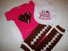 Baby Girl Football Onesie Leg Warmers and by grinsandgigglesbaby1, $28.00
