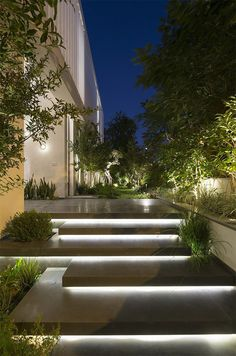 Illuminated entrance stairs … – house entrance / front garden – … – The World Modern Garden Design, Modern House Design, Modern House Facades, Modern Landscape Design, Modern Landscape Lighting, Landscape Stairs, House Landscape, Outdoor Stairs, Outdoor Stair Lighting