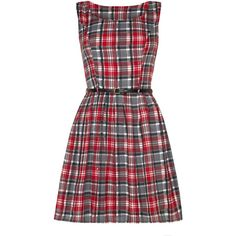 Mela Loves London Checked Belted Dress (24 CAD) ❤ liked on Polyvore featuring dresses, red, clearance, knee-length dresses, oversized dress, red mini dress, dresses with belts and belt dress