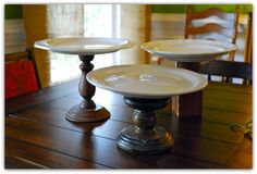 thrifty and easy cake stands using plates. no paint. no worries about displaying food on them.