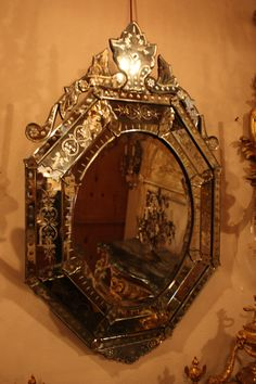 Antique cut glass mirror from Venice, Italy in excellent condition. Venetian Glass, Venetian Mirrors, Murano Glass, Mirror Image, Mirror Mirror, Practical Magic House, Glass Mirrors, Vintage Mirrors, Wall Accessories