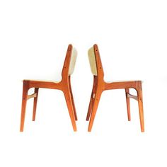 Pair of Danish Teak Upholstered Back Chairs