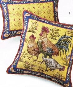 Normandie needlepoint pillows - I love cheesy chickens