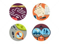 Detective Icon Set by kit8 Detective icon set. Crime scene and search for criminal on trail. Vector illustration. Vector files, fully editable. Includes AI C