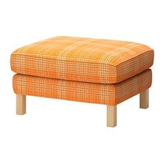 Pops of orange for our living room! This would be cute!  KARLSTAD Footstool - Husie orange - IKEA...