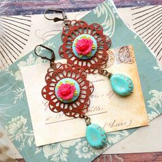 mori girl. red patina filigree earrings with aqua and fuchsia pink floral cabs, lolita, shabby chic, spanish design, junk chic, frida by FabFleaMarket on Etsy