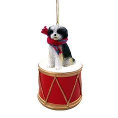 Shih Tzu Black & White Sport Cut Drum Ornament