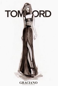 Fashion illustration of a dress by Tom Ford Spring 2015 // Graciano
