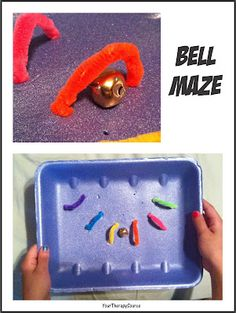 Bell Maze-cheap and easy activity to work on visual motor skills and hand-eye coordination. From Your Therapy Source.