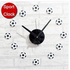 Low Stock! Creative Soccer DIY Sticker Modern Design Wall Clock (Acrylic & Vinyl Material)