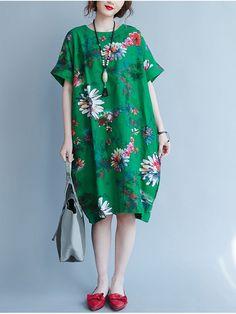 O-NEWE Women Loose Dress Printed Half Sleeve Pockets Pullover Dresses