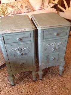 antique night stands painted blue beach cottage french country shabby victorian