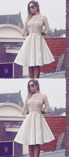 Elegant white 3/4 sleeves homecoming dresses, charming fashion dresses with appliqués, short prom dresses, semi formal dresses.