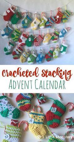 5 Little Monsters: Crocheted Stocking Advent Calendar - free pattern Crochet Christmas Stocking Pattern, Crochet Stocking, Crochet Christmas Decorations, Crochet Ornaments, Holiday Crochet, Crochet Gifts, Christmas Crafts, Free Crochet, Crochet Baby