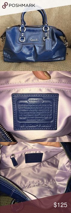 "Coach Ashley Patent Satchel (Colbalt Blue) This beautiful, rich colored satchel from Coach was only used a handful of times. Comes from a smoke-free home and care card inside zip pocket. There is a larger multifunction pocket inside as well. There are very small signs of wear on the bottom but they are not very noticeable. I consider it to be in excellent condition. Approximate dimensions are 12"" (L) x 9.25"" (H) x 4.5"" (W). Handles with 5"" drop and longer strap for your shoulder. (Dust bag…"