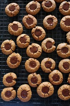 flourless peanut butter chocolate thumbprint cookies. used to make the floured version with grandma all the time.