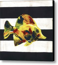 #art #canvas #marine #nautical #stripes #fish #yellow #decor