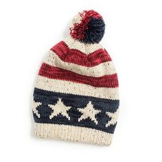 c08d41df7bd MUK LUKS Women s American Flag Pom Beanie Red Beanie Hat