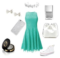 """Simply Silver"" by queenmaggles ❤ liked on Polyvore featuring Shoshanna, Converse, Sole Society, Bling Jewelry, Felony Case, Gucci, women's clothing, women's fashion, women and female"