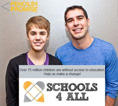 Justin Bieber promotes Pencils of Promise, which builds schools in the developing world and trains young leaders.