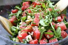 Arugula, watermelon and feta with mint instead of the usual basil. Add a bit of honey too