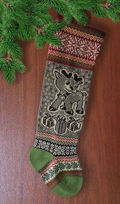 #Knit Christmas Stocking# Baby Reindeer with Present # SELENMAR