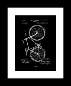 "Bicycle patent, EJ O'Connor, 1894. Printable 11"" x 14"", 36"" x 48"""