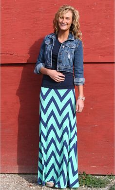 Womens modest flared maxi skirts with navy and mint chevron print available in S-L. #chevron #modesty