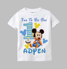 Mickey Mouse First Birthday Shirt Mickey Mouse by funfashionsetc