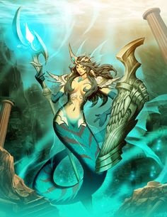 Atlantis by Genzoman. Fantasy Kunst, Fantasy Art, Mermaid Fairy, Mermaids And Mermen, Fantasy Images, Merfolk, Sea Monsters, Fantasy Inspiration, Gods And Goddesses