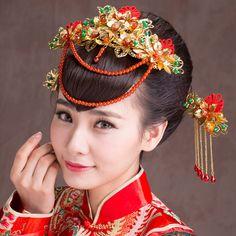 Bijoux traditionnels chinois classique Costume coiffe Frontlet couronne épingle étape bougé de mariée cheveux accessoires or rouge dans Bijoux de cheveux de Bijoux et Accessoires sur AliExpress.com | Alibaba Group
