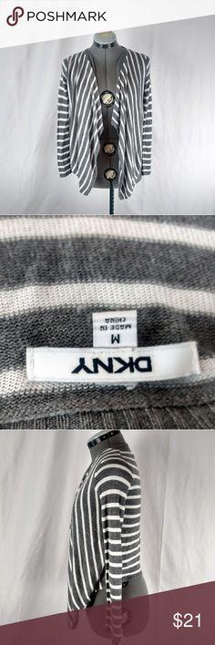 DKNY Stripe Cardigan Shawl Shrug Pancho Medium DKNY Stripe Cardigan Medium Dkny Sweaters Shrugs & Ponchos