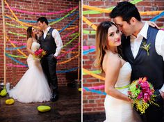 Neon Wedding Inspiration, LOVE!  www.laceandliliesflowers.com