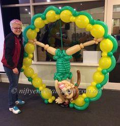 The Hub Gymnastics balloon decor. Twisted balloon art.