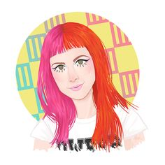 Hayley #9. Look: Still Into You music video. Hayley Williams, Paramore, hairstyles, orange hair, pink hair, illustration, design