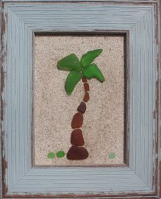 "Real Sea Beach Glass Art - Nautical Decor ""Palm Tree"""