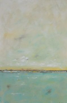 Art for the kitchen - Ocean Seascape Abstract Painting Aqua Sea 24 x 36 by lindadonohue, $395.00