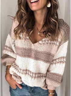 [£ Color Block Cable-knit Chunky knit V-Neck Sweaters - VeryVoga Loose Knit Sweaters, Casual Sweaters, Striped Sweaters, Pullover Sweaters, Sweaters For Women, Knit Vest Pattern, Sleeve Pattern, Neck Pattern, Vogue Knitting
