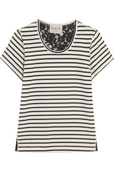 SEA Lace-backed striped cotton-jersey T-shirt | NET-A-PORTER