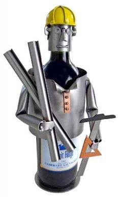 Personalize your wine gift with Architect Wine Bottle Holder. Complete with safety hat, architect tools and blueprints. Each H&K wine holder or sculpture is hand made by talented artisans who bend, cu