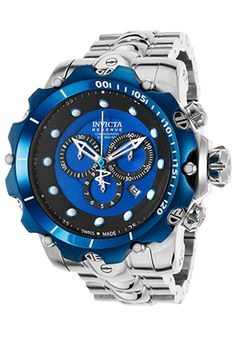 Men's Venom Chronograph Silver-Tone Steel Blue Dial