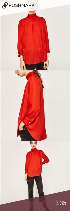 Zara red high collar blouse Flowing blouse with long sleeves. Gathered high collar. Gathered cuffs with a pearly button. Zara Tops Blouses
